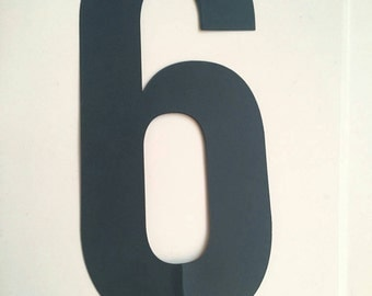 "5 inch number ""6"" navy blue cake topper"