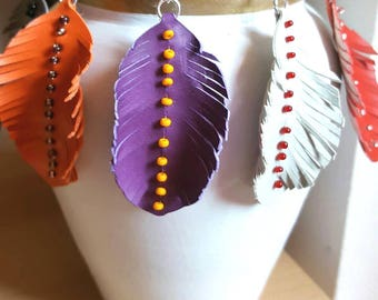 Synthetic leather feather earrings