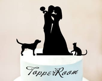 wedding cake topper silhouette with dogs cake topper etsy 26501