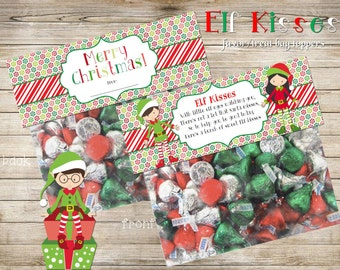 Elf Kisses favor/treat topper, DIY, Printable INSTANT DOWNLOAD