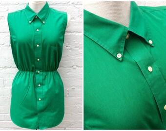 Green shirt dress, vintage blouse, women's retro fashion