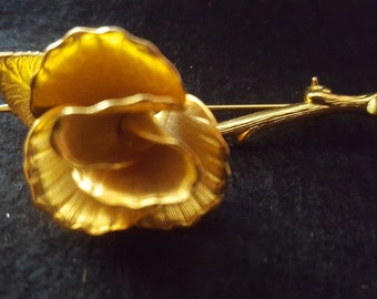 Gold Tone Rose Vintage Brooch Pin