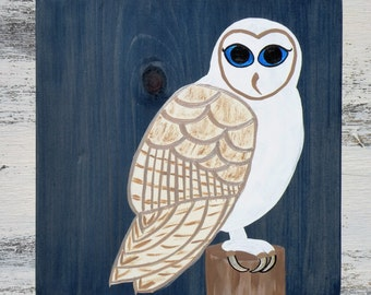 White Barn Owl Blue Eyes Hand Painted Wood Wall Hanging Denim Blue Stain 12x12