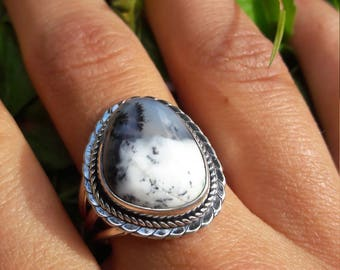 Dendritic Opal ring size US 8.75 (59 Europe)
