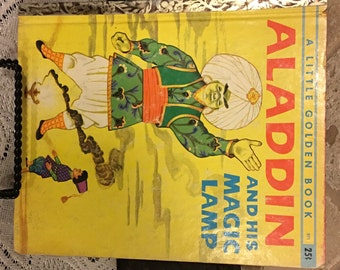 """Vintage Little Golden Book ALADDIN and his MAGIC LAMP ~ 1st """"A"""" Ed.  #371"""