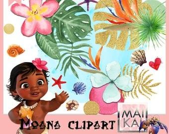 Moana Love Clipart, moana clip art, moana elements, moana ornament, vaiana clipart. instant download