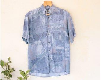 Vintage Short Sleeved Blue Shirt - Size Large