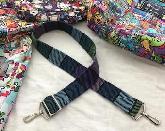 Dark Blue Purple Green Handbag Strap Handwoven to Match JuJuBe Bags