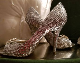 Rhinestone covered heel