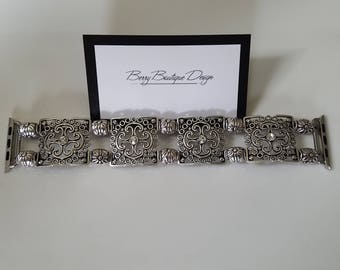 Apple Watch Band, Apple Watch Band 38mm, Apple Watch Band 42mm, Antique Silver Square Filigree