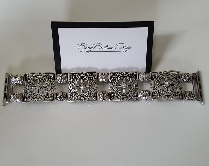 Featured listing image: Apple Watch Band, Apple Watch Band 38mm, Apple Watch Band 42mm, Antique Silver Square Filigree