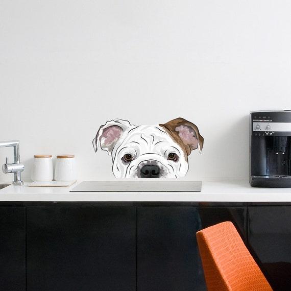 Peekaboo Bulldog Wall Decal - English Bulldog Gift, English Bulldog Sticker, Cute Holiday Gift, Dog Lover Gift, Bulldog Wall Sticker