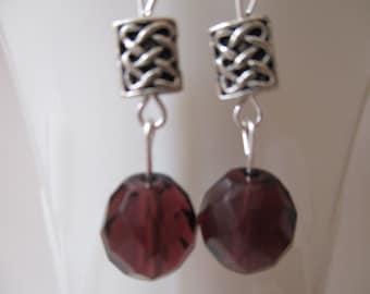 Purple Faceted Glass Earrings