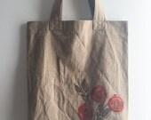 Hand block printed designer cotton tote bag - persimmon motif
