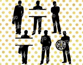 Men Monogram Frame SVG, Men Clipart, Models Svg, Fashion SVG, Men Cut File, Instant Download, Svg, Dxf, Jpg, Eps, Png