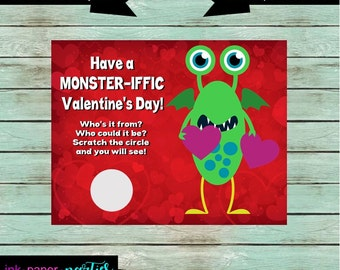 Monster Valentine's Day Kids Valentine Scratch Off Cards Tickets Party Favors Gifts School Class Personalized Custom