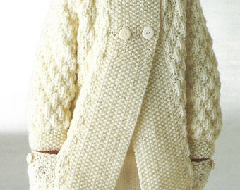 knitting pattern, pdf, girl's, boy's, chunky knit cardigan, ages 1 to 10 years, digital download, instant download
