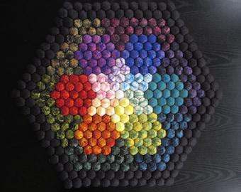 Rainbow Rug - Hexagon Wool Felt Rug with Shiny Tencel Highlights