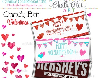 Valentine Candy Wrappers, Valentine Favors, Valentine's Day. Candy Bar Valentines - Instant Download