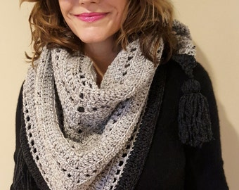 The Weekender Crochet Triangle Bandana Scarf with Tassels in Grays