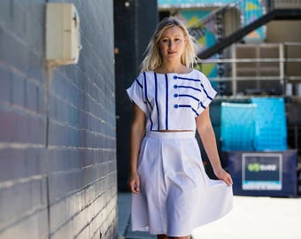 2 piece vintage look top & skirt set