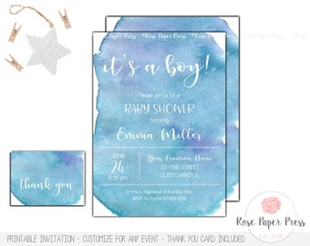 Boy Watercolor Baby Shower Invitation Set | Custom Printable Invitation | Watercolor Invite | Thank You Card | Boy Baby Shower