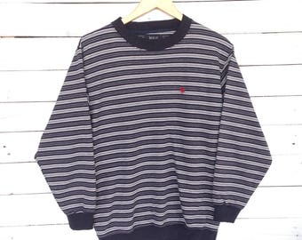 Rare !! 90s Polo Small Logo Stripe Sweatshirt  Crewneck Hip Hop Swag Medium Size #A3