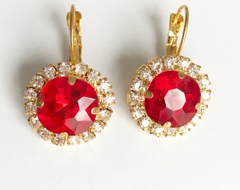 Red Crystal Earrings, Red Crystal Gold Lever Earrings, Bridal jewelry, Swarovski stud earring, Bridal jewelry