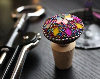 Beaded Mosaic Bottle Stopper, Wine Bottle Stopper, Wine Stopper, Cork Bottle Stopper, Bottle Topper, Bottle Stopper, Bar Cart Item