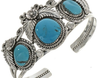 Blue Turquoise Silver Bracelet Ladies Native American Cuff