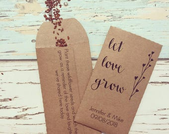 Let love grow wedding favour Pack of 10 - Wildflower seed wedding favour - Rustic wedding favour