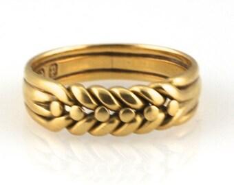 English Hallmarked 18 Karat Yellow Gold Braided Ring, Birmingham, 1890