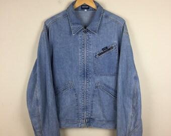90s GUESS Denim Jacket Size XL, Vintage Guess Jacket