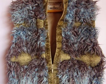Vintage Women's Vest/Blue Gray Vest/ZEPLA  Furry Vest/ Sleeveless Vest/With Zipper/Pockets/ Warm Autumn Winter Vest/ Perfect Lining/ Size L