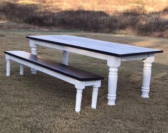 Farmhouse Dining Table Wood Harvest Turned Leg