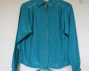 Green 80s Shirt with Tie Waist- 10