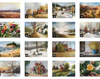 Original Floral and Landscape Watercolor Paintings Printed on Greeting Cards, Size 5x7""