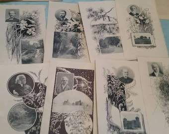 Lot of 13 Antique ephemera, collage, book prints, collectables