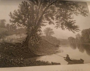 Original lithograph print 1886 man fishing.