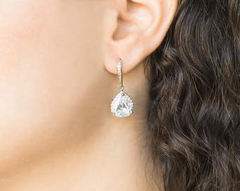 Silver Bridesmaid Earrings, Teardrop White Crystal Cubic Zirconia Wedding Earrings