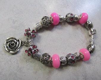 Beautiful,  Bright Pink Pandora Chain European Charm Bracelet #101