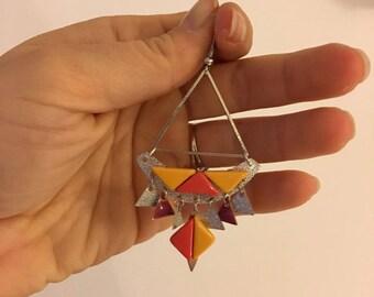 Earrings yellow triangle and fuchsia