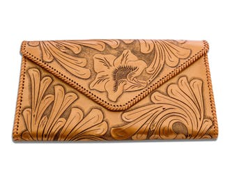 Hand Tooled Mexican Leather Large Clutch
