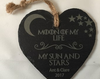 Game of Thrones inspired khaleesi 'Moon of my life, my Sun and Stars' Personalised hanging slate heart valentines gift