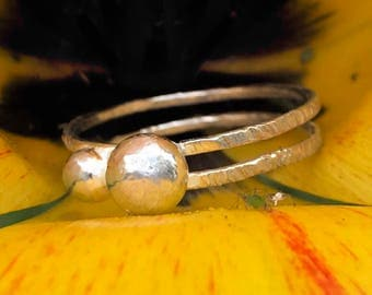 Hand Made Silver Pebble Ring, Boho Chic Bark Effect, Two Bands With Two Rustic Look Solid Silver Pebbles.