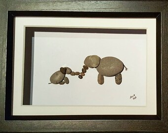 Mommy and Baby Elephant - Pebble Art