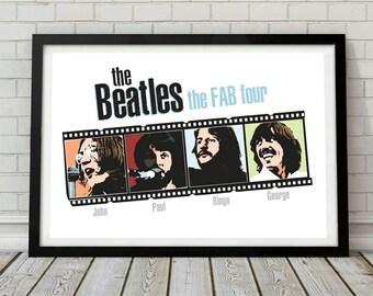 The Beatles fab four music poster wall decor art print unframed