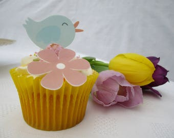 Cupcake 'Spring Tweets' Edible Cake Topper Set