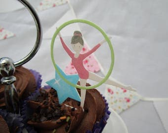 Cupcake 'Fantastic Gymnastic' Edible Cake Topper Set