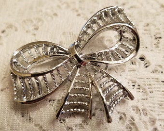 Vintage Ribbon Brooch, Silver Finish